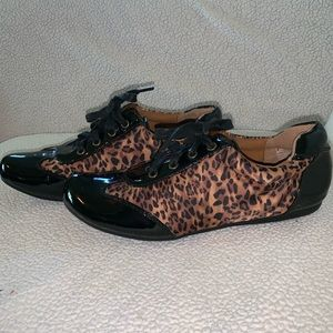 Laura Ashley Leopard Black Patent Sneakers